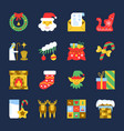 colorful cristmas new year flat icon set vector image vector image