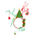colorful with decorated green christmas tree vector image vector image