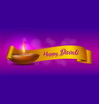 congratulation banner with burning diya and yellow vector image vector image