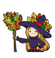 cute little witch with a broom vector image