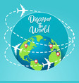 discover the world concept with flying around the vector image