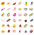 eat greedily icons set isometric style vector image vector image
