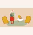 elderly couple dancing senior people cartoon vector image vector image