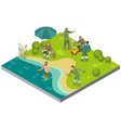 fishing tourism isometric composition vector image vector image
