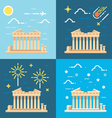 Flat design 4 styles of Parthenon Athens Greece vector image vector image
