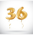 golden number 36 thirty six metallic balloon vector image vector image