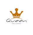 golden sign crown queen design modern logos king vector image vector image