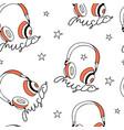 hand drawing print design headphone and slogan vector image vector image