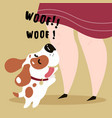 happy biegle dog and his master woof text vector image
