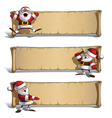 Happy Santas Papyrus Celebrating Presenting Set vector image vector image