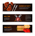 horizontal banners bbq burgers and grill tongs on vector image vector image