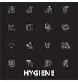 hygiene editable line icons set on black vector image vector image