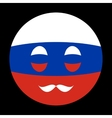 Icon of Russian flag with mustaches in globe form vector image