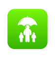 insurance family icon green vector image vector image