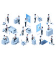 isometric cleaning service professional workers vector image