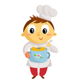 Kid cook cartoon character isolated on white vector image vector image
