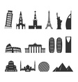 Landmark travel set silhouette Architectural vector image vector image