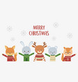 merry christmas celebration cute animals with ugly vector image vector image