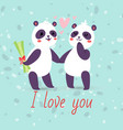 pandas couple in love banner greeting card vector image vector image