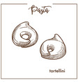 pasta tortellini chalk sketch icon for italian vector image vector image