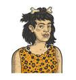 primitive caveman woman sketch vector image