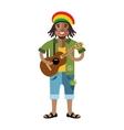 Rastafarian Reggae Artist Flat style vector image vector image