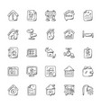 real estate doodle icons set vector image vector image
