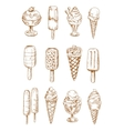 Refreshing ice cream and popsicles sketches vector image vector image