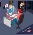 romantic date online isometric composition vector image vector image
