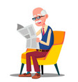 senior age man in glasses reading a newspaper in a vector image