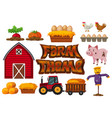 set of farm element vector image vector image