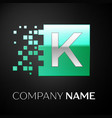 silver letter k logo symbol in the green square vector image vector image