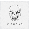 skull with kettlebells in eyes grunge fitness vector image vector image