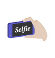 taking selfie photo on smartphone symbol flat vector image vector image