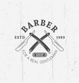 two crossed straight razorors barber shop emblem vector image vector image