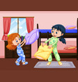 two girls playing pillow fight in bedroom vector image vector image
