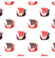 viking boat flat pattern on white vector image
