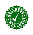 wellness grunge stamp with tick vector image vector image