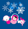 winter christmas card with matryoshka and snowmen vector image