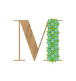 wooden leaves letter m vector image vector image