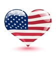 Flag of the United States in the form of heart vector image