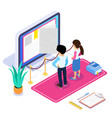 3d isometric online learning or video tutorial vector image vector image