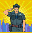 a good cop salutes police work vector image vector image