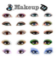 a set womens eyes with a different makeup vector image