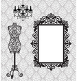 antique mannequin chandelier and mirriw with vector image vector image