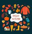 autumn hand drawn elements collection with vector image vector image