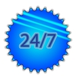 Big blue button labeled 247 vector image