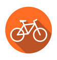 bike icon on orange round background bicycle in vector image vector image