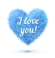 Blue fluffy heart with I love you sign vector image vector image
