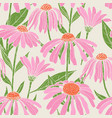 botanical seamless pattern with gorgeous echinacea vector image vector image